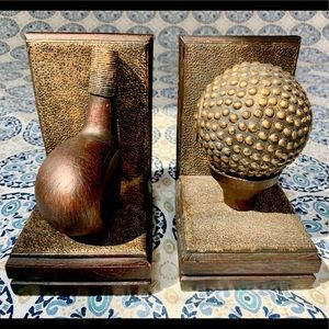 Gold Club and Ball Bookends